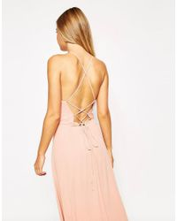 ASOS - Natural Maxi Dress With Tie Back - Lyst