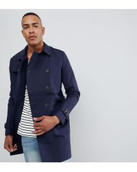 ASOS - Blue Tall Shower Resistant Double Breasted Trench In Navy for Men - Lyst