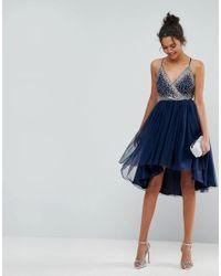 ASOS DESIGN - Blue Asos Ballerina Mesh Sparkle Tulle Midi Dress - Lyst