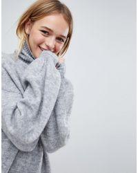 Monki - Black High Neck Knitted Jumper - Lyst