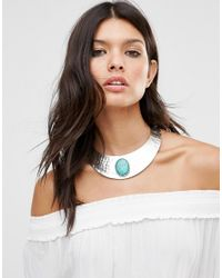 Missguided - Metallic Stone Collar Necklace - Lyst