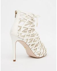 Faith - Multicolor Louise White Caged Ghillie Tie Up Heeled Shoe Boots - Lyst