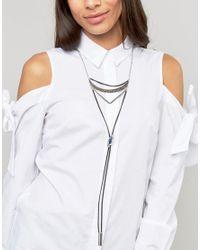 Ashiana - Metallic Multi Layered Bolo Tie Necklace - Lyst
