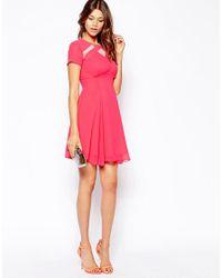 Elise Ryan - Pink Skater Tea Dress With Mesh Inserts - Lyst