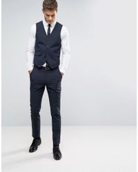 ASOS - Blue Slim Waistcoat With Stretch In Navy for Men - Lyst