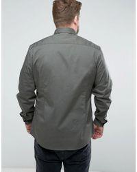 ASOS - Green Plus Slim Fit Two Pocket Shirt In Khaki for Men - Lyst