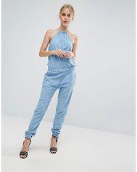 ffbff38bcb1 Lyst - Pepe Jeans Lopez Halterneck Denim Jumpsuit in Blue