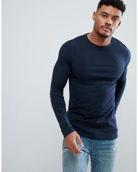 ASOS DESIGN - Blue Design Muscle Long Sleeve T-shirt In Navy With City Back Print for Men - Lyst