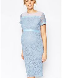 ASOS - Blue Body-conscious Dress In Lace With Chiffon - Lyst