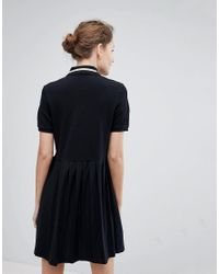 Fred Perry - Black Pleated Hem Pique Polo Dress - Lyst