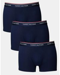 Tommy Hilfiger | Blue Stretch Trunks In 3 Pack In Longer Length for Men | Lyst