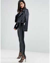 ASOS | Rivington High Waisted Denim Jeggings In Tonal Black And Washed Black | Lyst