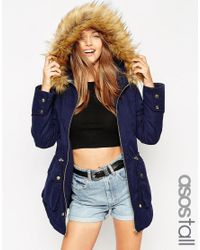 ASOS | Blue Tall Ultimate Parka | Lyst