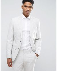 New Look - Gray Suit Jacket With Crosshatch Detail In Off White for Men - Lyst