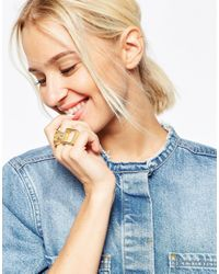 ASOS - Metallic Pack Of 2 Circle And Square Rings - Lyst