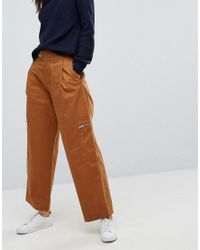 ASOS - Brown Daphne Casual Cropped Trousers With Zip Detail In Tan - Lyst