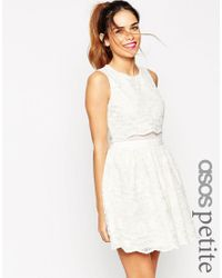 ASOS | Natural Petite Lace Crop Top Skater Dress | Lyst