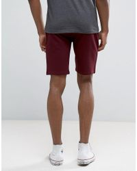 ASOS - Red Tall Jersey Skinny Shorts In Burgundy for Men - Lyst