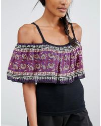 Anna Sui - Purple Off Shoulder Tank Top With Printed Ruffle - Lyst