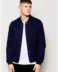 Native Youth - Blue Camouflage Bomber Jacket for Men - Lyst