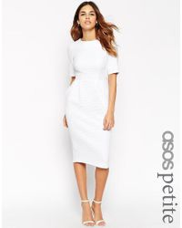 ASOS | White Petite Textured Wiggle Dress | Lyst