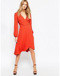 ASOS - Orange Midi Dress With Blouson Sleeves And Wrap Front - Lyst