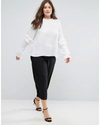 ASOS - White Pie Crust Ruffle Sleeve Blouse - Lyst