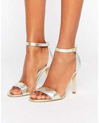 Terry De Havilland | Metallic Zig Barely There Leather Heeled Sandals | Lyst