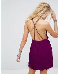 Free People - Purple Marcella Embroidered Mini Dress - Lyst