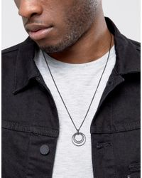 ASOS - Black Coated Necklace With Ditsy Charm for Men - Lyst