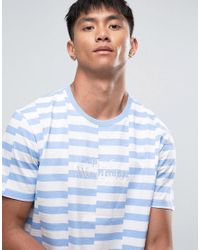 Huf - Blue T-shirt With Block Stripe for Men - Lyst