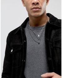 Icon Brand - Metallic Cross & Loop Necklace In Gunmetal & Silver In 2 Pack Exclusive To Asos for Men - Lyst