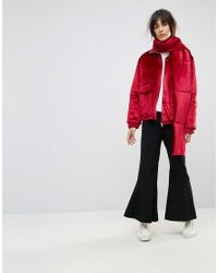 House Of Sunny - Red Padded Jacket In Velvet With Detachable Scarf - Lyst