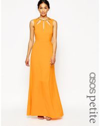 ASOS | Keyhole Multi Gold Bar Maxi Dress - Orange | Lyst