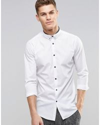 New Look | Smart Shirt In White With Tie Pin In Regular Fit - White for Men | Lyst