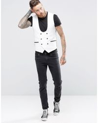 Noose And Monkey | Gray Super Skinny Db Vest With Contrast Piping And Stretch for Men | Lyst