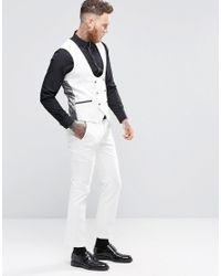 Noose And Monkey - Gray Super Skinny Db Vest With Contrast Piping And Stretch for Men - Lyst