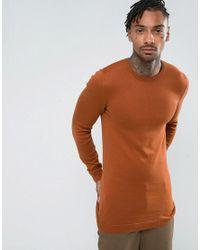 ASOS - Brown Asos Longline Muscle Fit Sweater In Dark Tan for Men - Lyst