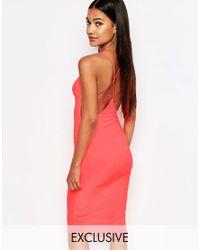 Club L   Red Midi Dress With Star Cami Cross Back Strap   Lyst