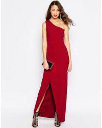 ASOS - Black Red Carpet One Shoulder Maxi Dress - Lyst
