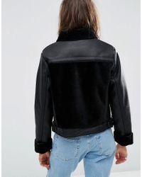 ASOS | Black Leather Look Biker Jacket With Fur Panels | Lyst
