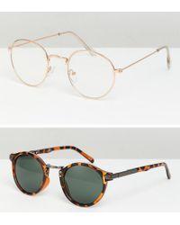 ASOS - Metallic Round Sunglasses 2pk In Gold & Tort Save for Men - Lyst
