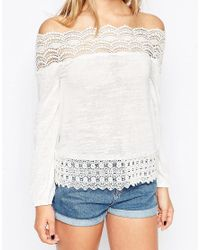 ASOS - Natural Top With Cotton Lace Trim Off Shoulder - Lyst
