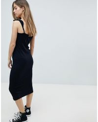 ASOS - Black Midi Vest Dress With Frill Straps And Popper Placket - Lyst