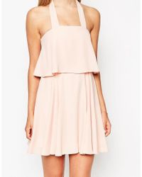 ASOS - Orange Tall Bandeau Crop Top Skater Dress With Wide Straps - Lyst