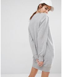 Ellesse - Gray Sweat Dress With Front Logo - Grey - Lyst
