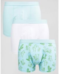 ASOS - Blue Trunks With Cactus Print 3 Pack Save 20% for Men - Lyst