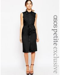 ASOS | Black Petite Sleeveless 70's Shirt Dress | Lyst
