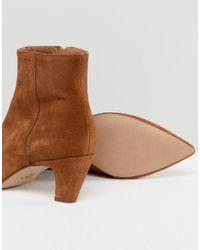 ASOS - Brown Reanne Suede Kitten Heeled Boots - Lyst