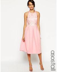 ASOS | Green Lace Top Scuba Skater Midi Dress | Lyst